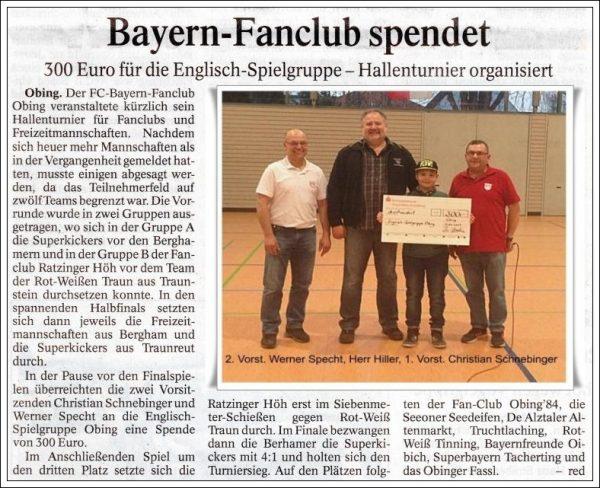 Spende Hallenturnier Zeitung 2017 3