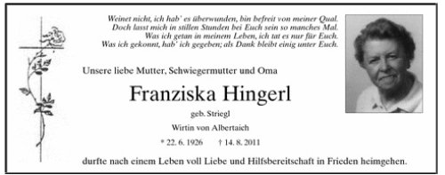 02_Sterbeanzeige Hingerl Franzziska
